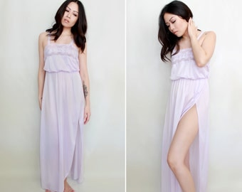 Vintage Lingerie '70s Lilac Lace and Nylon Nightgown - High Slit Disco Dress - Retro Boudoir Pin Up Style - Size Small