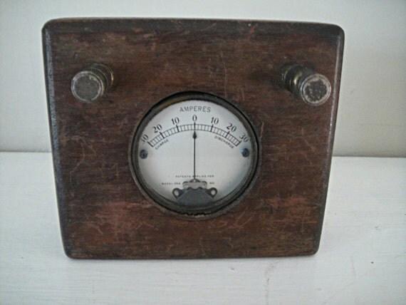 Antique Volt Meter : Antique voltmeter a c volt gage gauge vintage by