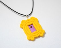 Friends TV show frame, yellow peephole frame necklace, polymer clay by youfimo