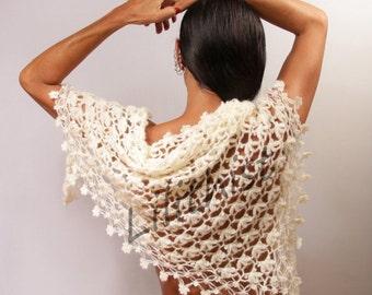 Bridal Shawl, Ivory Wedding Shawl, Crochet Shawl, Wedding Wrap, Crochet Scarf, Cape, Bridal Accessory, Wedding Shrug Bolero, Women Gift