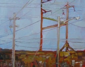 ORIGINAL Urban America Landscape Oil Painting. Plein Air Cityscape. Small painting. Impressionist train track. Geometric wires and poles