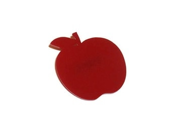 Red Apple Brooch, Cute Fruit Brooch, Quirky Kitsch Laser Cut Pin