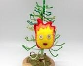 Calcifer felt ornament for the christmas tree, christmas ornament, anime decor Howl's Moving Castle, home decor, howls heart, burning fire