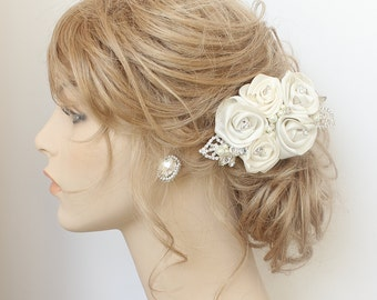Floral Bridal Comb- Bridal Hair Accessories- Ivory Bridal Hairpiece- Rose Bridal Comb- Ivory Bridal Comb- Rose Hairpiece- Fascinator