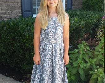 Grey Damask Print Dress for sizes 4 to 12