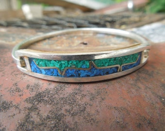 Alpaca Mexico Bangle Bracelet Hinged Crushed Blue and Green Stones