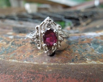 Sterling Silver Filigree Ring with Purple Stone Size 7 Amethyst Avon