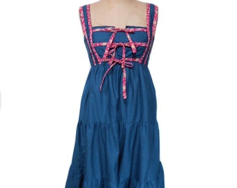 vintage 1970s prairie dress / blue floral / cotton blend / spring summer / boho bohemian / 70s dress / women's vintage dress / tag size 9