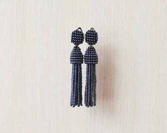 Beaded Tassel Clip-On Earrings Dark Metal (made to order)