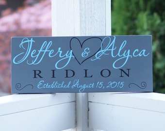 Personalized Family Name Sign Wood Established Wall Date Sign 7x18