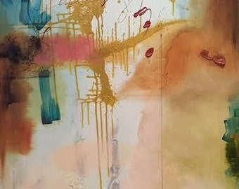 Large Original Abstract Painting on Canvas Mixed Media, Mint Green Hot Pink Turqouise Ocher Red Black