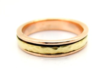 Rose & yellow gold spinner hammered ring