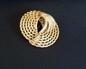 SALE-Vintage Goldtone and Rhinestone Brooch Pin, large, circular-use coupon SALE20OFF, egst, Greece
