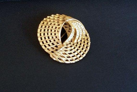 SALE-Vintage Goldtone and Rhinestone Brooch Pin, large, circular, original, Greece