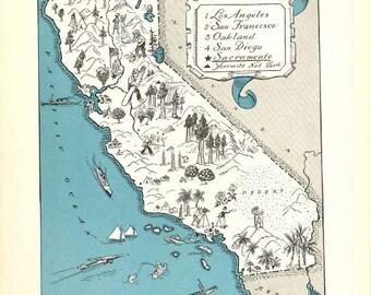 California Map Print / 1930s Vintage Map Art / California Decor / Quinn State Map Wall Art / Old Map Illustration / Travel Wall Decor