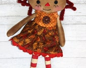 Tiny Fall Leaves Annie - Primitive Raggedy Ann Doll (HAFAIR)