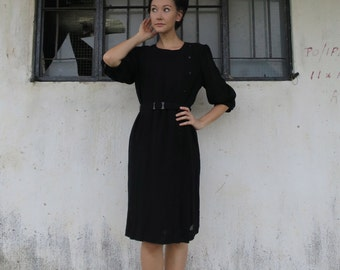 Japanese Vintage Dress/Small-Medium/Black/Noir/Gatsby/Evening Dress/Breakfast at Tiffanys/Wednesday Addams/Party Dress