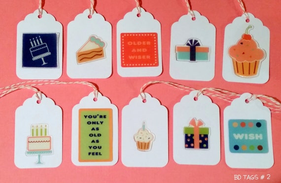 Birthday Party Favor Gift Tags / Set of 8 with Orange Baker's Twine / TAGSET 2