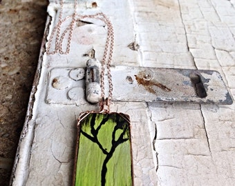 "Painted Wood Tree Necklace - 14k Rose Gold Filled and Wood - Hand Painted - ""Seasons of Change"" - Choose Your Season"