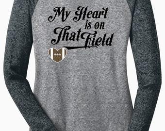My Heart Is On That Field {Football Heart} - Long Sleeve Microburn Raglan Tee