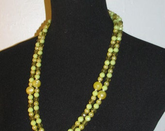 LONG BEAD NECKLACE // Vintage 70's Double Wrap Bead Necklace Lime Green Yellow 80's Costume Gold Clasp