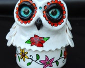 Sugar Skull Owl box in polymer clay