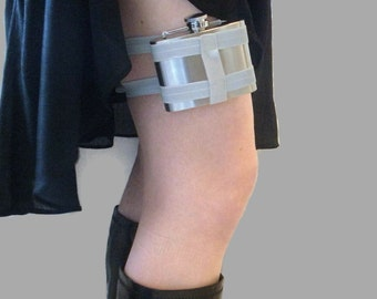 Adjustable Flask Garter 4oz Flask - Light Grey - cute and useful industrial fashion accessory