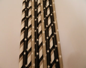 25 Night Sky Mixed Black and Grey Stripes and Stars Paper Straws- Baby Shower Decorations-Birthday Party, Cake Pops, Bridal Shower