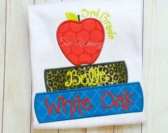 School Book shirt- Back to school shirt- Grade school shirt- Book Worm School shirt- Apple School shirt- Monogram school shirt- teacher shir