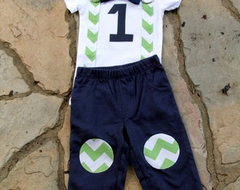 Baby Boy First Birthday Outfit - Boys Birthday Bodysuit with Knee Patch Pants - Cakesmash, 1st Birthday, Chevron Bow tie Bodysuit, Party