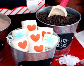red heart and blue snowflake printed marshmallows hot chocolate bar idea winter wedding or Valentine's day idea smores bar