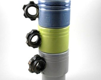 Stackable Coffee cups Coffee mugs Tea Black Gear in Blue Grey and Pear/Chartreuse