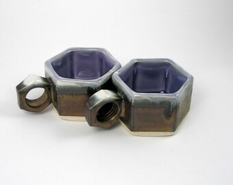 Espresso Cup set of two in dark Purple Lavender and Black Gold/brass