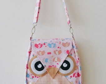 Elephant: Pink Flip Bag, Owl Bag, messenger bag, tote, animal, women, kid bag, children bag, fabric bag, girl bag, boy bag, quilt, cute