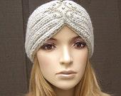 Knit Headband Head Wrap Winter Ear Warmer Wheat Light Beige with Sparkle Bead Applique