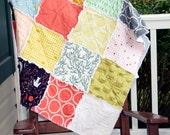 Crib Quilt- Ready to ship quilt, Cat quilt, Orange quilt, Yellow Quilt, Rag Quilt, Modern Quilt, Baby Quilt, Baby Blanket
