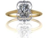 Radiant Cut Diamond Wisps Two Tone Ring 14K .50ct-1.5ct