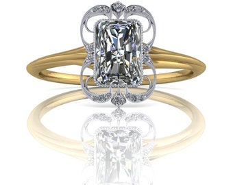 Radiant Cut Diamond Wisps Two Tone Ring 14K .50ct-1.5ct