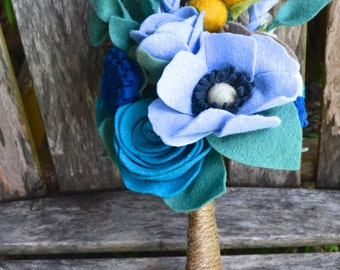 Felt Flower Bridal bridesmaids Bouquet - Custom / Made to Order - blue teal peacock navy