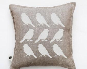 Bird pillow cover - white birds cushion cover -  bird print throw pillow - cushion cover for shabby chic home decor  0293