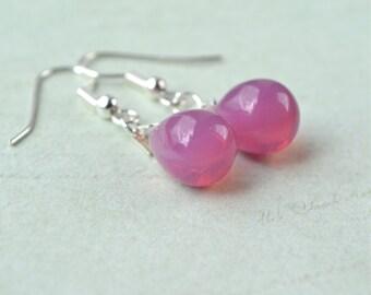 Pink Earrings, Pink Teardrop Earrings, Bead Earrings, Pink Dangle Earring, Glass Earrings, Pink Drop Earrings, Dark Pink Bridesmaid Jewelry