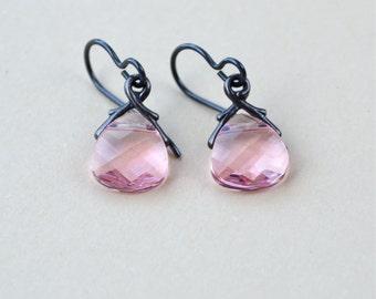 Pink Swarovski Earrings, Swarovski Crystal Earrings, Briolette Earrings, Crystal Jewelry, Dainty Drop Earrings, Pale Pink Earrings, UK Shop