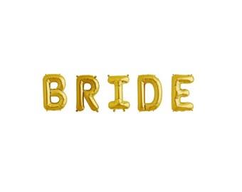 "16"" BRIDE Balloon Banner, Mylar Balloon Banner, Letter Balloons, Bridal Shower, Gold Balloons, Wedding, Hen Night, Lingerie Party, Reception"