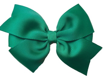 4 inch dark green hair bow - dark green bow, forest green bow, 4 inch bow, pinwheel bows, girls hair bows, girls bows, toddler bows
