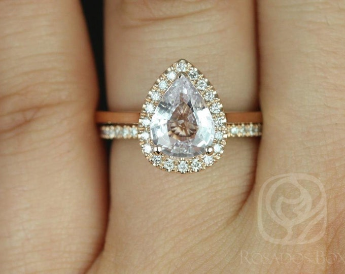 Featured listing image: Rosados Box Ready to Ship Julie 1.78cts & Swt Heart Kubian 14kt Rose Gold Pear Icy Blush Sapphire and Diamonds Halo Wedding Set