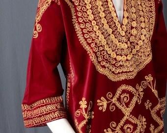 Red Velvet Caftan velvet dress gold embroidery kimono hippie gypsy size S small