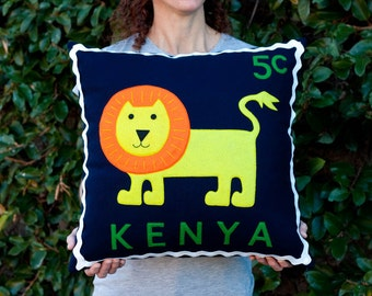 Kenyan lion stamp cushion cover