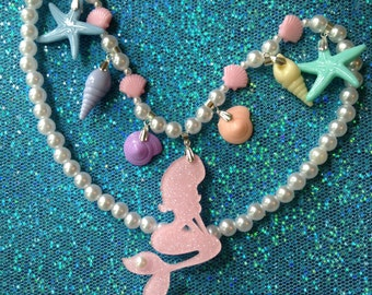 Sea Charms - Pastel Rainbow Mermaid, Shell and Starfish Charm Stretch Necklace with Faux Pearls