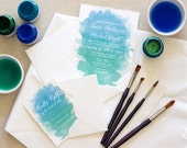 Laurel Invite - Script Watercolor Torn Edge Wedding Invitation Sample Set