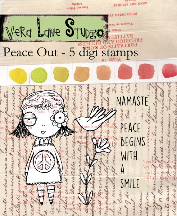 Peace Out - Whimsical retro girl with peace bird and quotes - digi stamp set for instant download